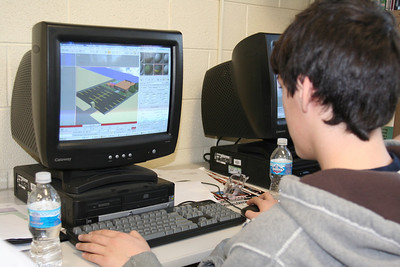 Connor working on a scene for the animation.