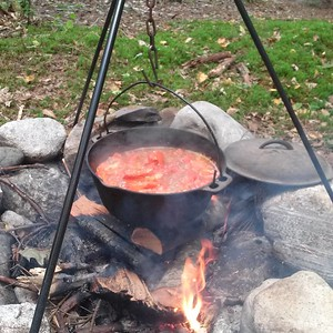 Fire roasted sauce in Maine!! #mainefood #bushcraft #food #camping