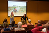 Austin Vince and Lois Pryce talk during their documentary about traveling around America on a URAL - EXPO 2010