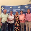 Pivot Teams red section winners - Nick Woodcock, Sue Woodcock, Susan Fjortoft, Stuart Clarke, (with Hannah Williams of Bridge Overseas - centre)
