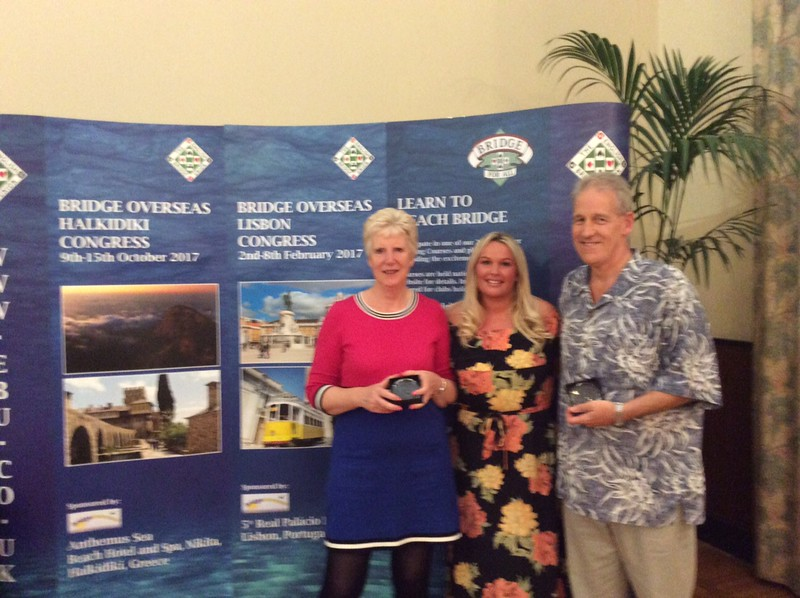 Open Pairs winners - Kathy Talbot & Chris Taylor (with Hannah Williams of Bridge Overseas - centre)