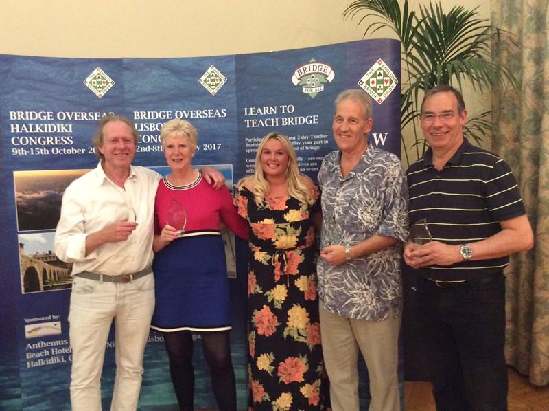 Swiss Teams winners - David Wing, Kathy Talbot, Chris Taylor, Denis Talbot, (with Hannah Williams of Bridge Overseas - centre)