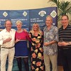 Swiss Teams winners - David Wing, Kathy Talbot, Chris Taylor, Denis Talbot, (with Hannah Williams of Bridge Overseas - centre)