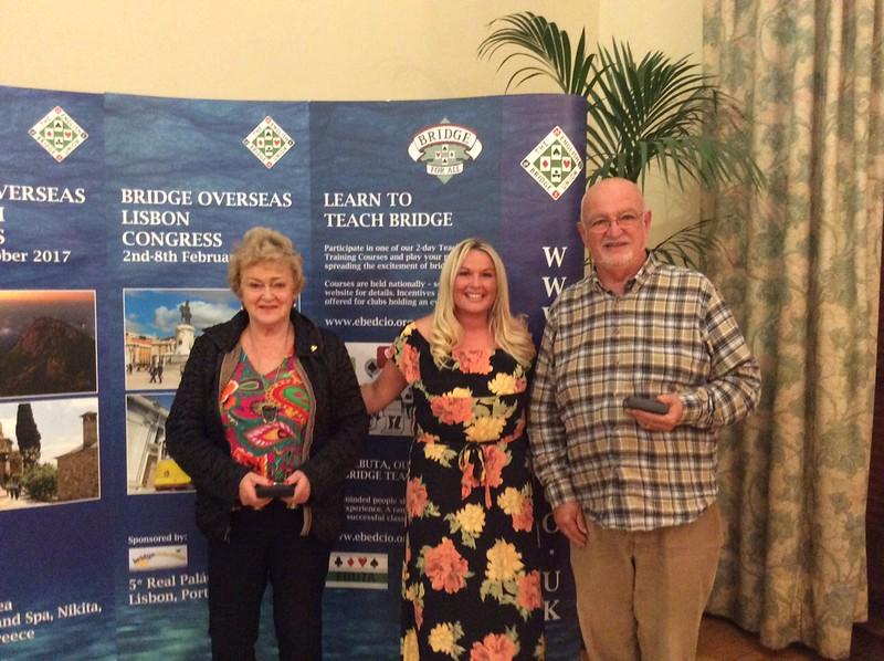 Mixed Pairs winners (on split tie) - Sue Rankin & Howard Basden-Smith (with Hannah Williams of Bridge Overseas - centre)