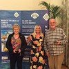 Mixed Pairs winners (on split tie) - Sue Rankin & Howard Basden-Smith (with Hannah Williams of Bridge Overseas - centre)