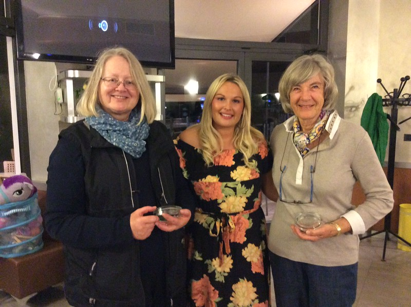 Women's pairs winners - Tuula Lehtinen & Jackie Rumball (with Hannah Williams of Bridge Overseas - centre)