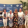 Pivot Teams white section winners - Heather Harvey, Susan Pell, Christina Powne, Carole Kelly, (with Hannah Williams of Bridge Overseas - centre)