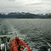 Looking back at Ushuaia as we head down the Beagle Channel