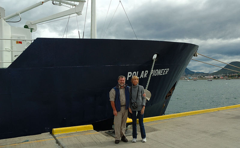 Getting ready to board Polar Pioneer in Ushuaia. Not really, we were standing there and someone took a photo before we could move away.