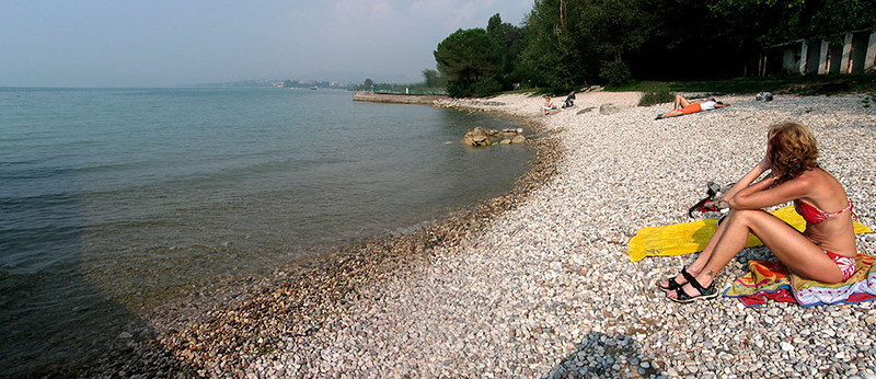 Lake garda beach at Lazise