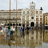 Saint Mark's Square - underwater with rain coinciding with high tide
