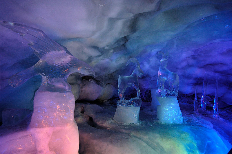 Ice carvings about 15 meters below and inside the Matterhorn glacier