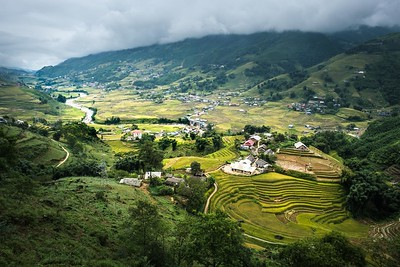 Sa Pa is a town in the Hoàng Liên Son Mountains of northwestern Vietnam. A popular trekking base, it overlooks the terraced rice fields of the Muong Hoa Valley, and is near the 3,143m-tall Phang Xi Pang peak, which is climbable via a steep, multiday guided walk. Hill tribes, such as the Hmong, Tay and Dao, make up much of the town's local population.
