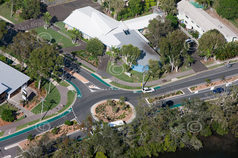 An aerial photo of Noosa area in Australia.