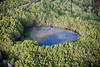 An aerial image of a pond in Australian rain forest.