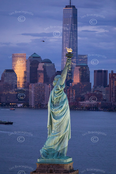 Aerial photo of the Statue of Liberty.