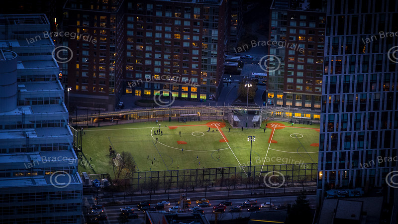 Aerial photo of soccer pitch in Manhattan, New York City.