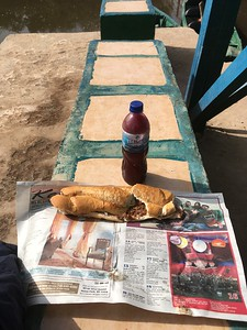 Local Scoff - Tapalpa with beans, onion and chilli sauce - with iced Wonjo juice -  the Gambia 2020