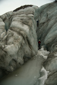 Stacey Ice climbing in a cravasse (got to watch your step walking in... VERY cold water! I found out the hard way...)