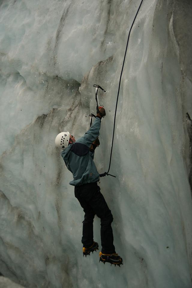 James Ice climbing in a cravasse on Fox Glacier