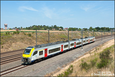 Siemens Desiro ML, SNCB/NMBS AM08 EMU, 08044 passes Kortenburg on 03/07/2014.