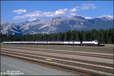 8013 and 'The Rocky Mountaineer' stabled at Jasper for the night on 04/07/2001.
