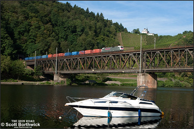 Krauss-Maffei EuroSprinter, PCW 8 (ex ES 64 P 001) crosses the Mosel at Bullay whilst working a northbound container service on 02/09/2016.