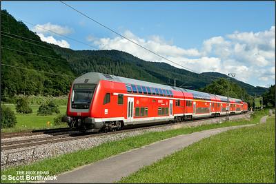 DBAG Class 146, 146 233, runs through the Black Forest passing Singersbach whilst working RE5327 1609 Karlsruhe Hbf-Kreuzlingen on 12/07/2012.
