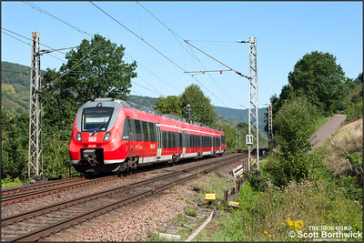 "DB Regio Class 442 Bombardier ""Talent 2"" 4-car EMU, 442208/708 forms RB12108 1017 Koblenz Hbf-Trier Hbf approaching Bullay on 28/08/2016."
