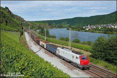 Alstom  Prima EL3U, E37 517 hauls a southbound mixed freight for Luxembourg at Winningen on 07/07/2014.
