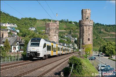 A pair of Siemens Desiro ML's lead by 460 506-9 form Trans Regio MittelrheinBahn service MRB25323 0853 Koblenz Hbf-Mainz Hbf at Oberwesel on 06/07/2014.