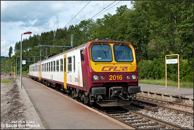 CFL Class 2000 EMU, 2016 arrives at Clervaux whilst forming RE3792 1623 Troisvierges-Luxembourg on 18/07/2012.