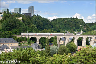 CFL Class 3000, 3011, crosses Viaduc de Pfaffenthal, Luxembourg whilst working IR119 1455 Liège-Luxembourg on 07/07/2012.