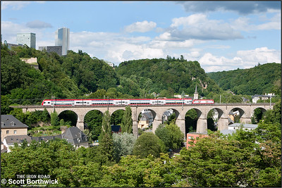 CFL Class 4000, 4018, crosses Viaduc de Pfaffenthal, Luxembourg whilst working RB3241 1605 Wiltz-Luxembourg on 07/07/2012.