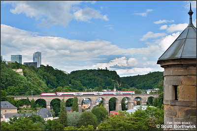 CFL Class 4000, 4008, crosses Viaduc de Pfaffenthal, Luxembourg whilst working RB3216 1650 Luxembourg-Wiltz on 07/07/2012.