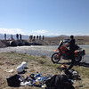 After our bike was drown in Mongolia, we were rescued by the road workers behind us and needed to dewater the bike on the side of the track.