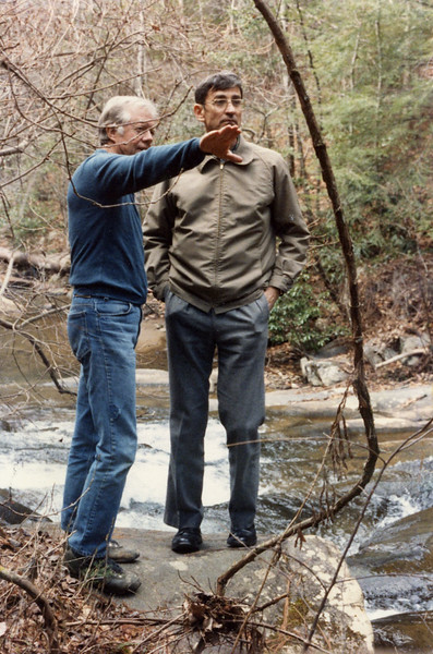 Former President Jimmy Carter and Millard Fuller during a retreat in 1985. The Fullers' work received a tremendous boost when they successfully recruited Carter to their cause.