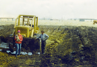 Jay & Buger Bear & man with Tractor digging pond on Land 1975