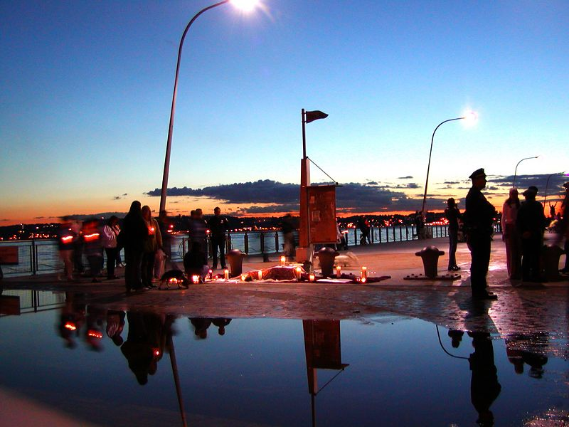Candel light vigil on the 69th St. pier Brooklyn