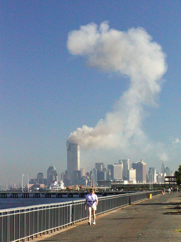When I saw the smoke from the first hit. It looked like a question mark so I took this picture and headed twards the 69th St. pier to find out  what had happened.