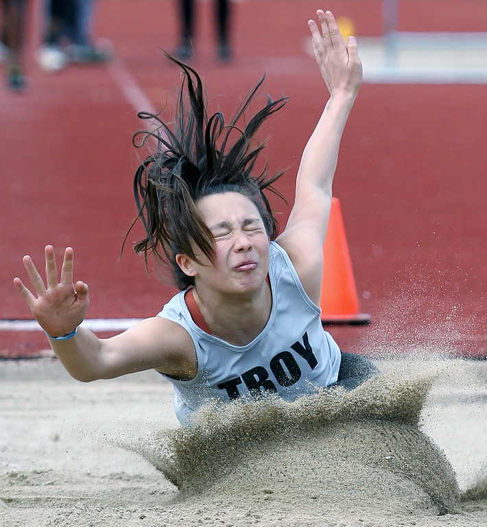 . 56th Annual Elmer Ball Oxford Invitational track meet at Oxford High School Saturday, April 21, 2018. (For The Oakland Press / LARRY McKEE)