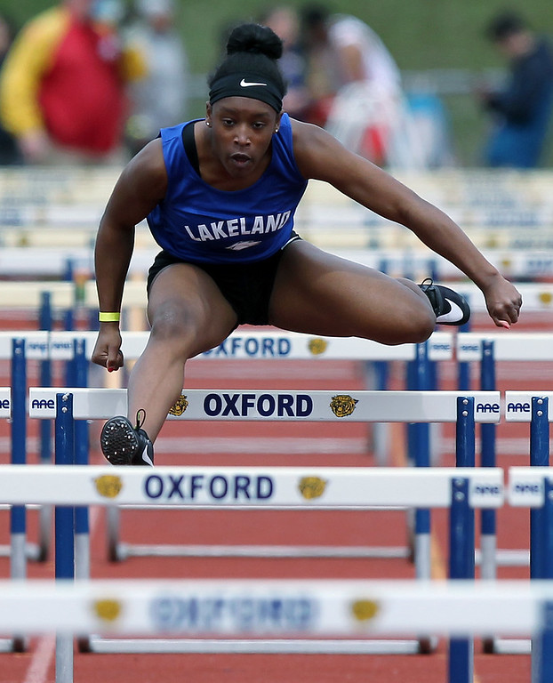 . Grace Stark, White Lake Lakeland, took home first place in the 100-yard hurdles during the 56th Annual Elmer Ball Oxford Invitational track meet at Oxford High School Saturday, April 21, 2018. (For The Oakland Press / LARRY McKEE)