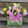 Pink and Yellow tulip arrangement