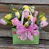 Pink and Yellow tulip arrangement
