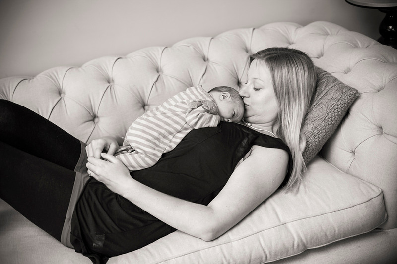 Mum and newborn baby at home