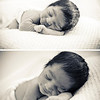 Black & white images of sleeping baby boy in fluffy nappy