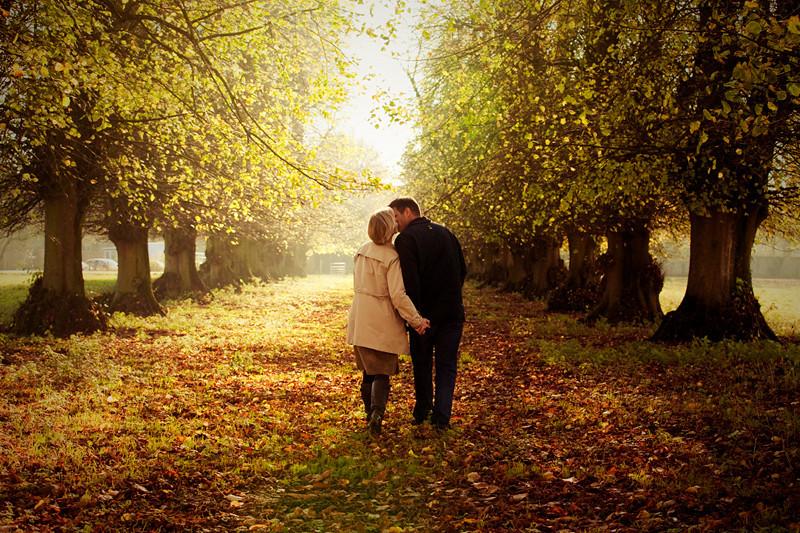 Romantic couple on woodland walk