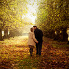 Romantic couple on woodland walk