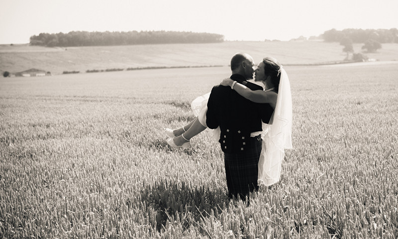 Bride and Groom in cornfields