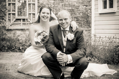 Bride & Groom portrait in black & White at Friars Court